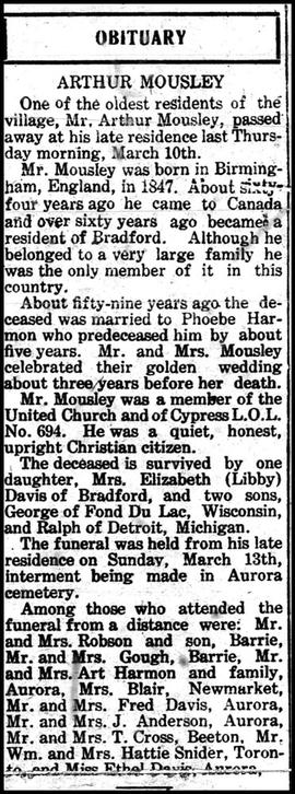 Mousley, Arthur obituary