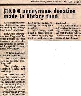 $10,000 anonymous donation made to library fund