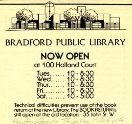 Bradford Public Library Hours