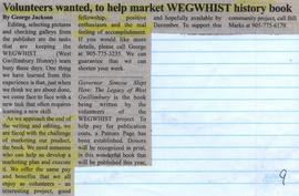 Volunteers wanted, to help market WEGWHIST history book