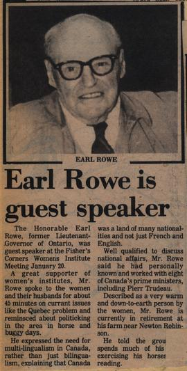 Earl Rowe is guest speaker