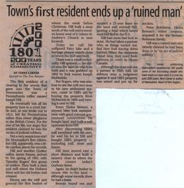 Town's first resident ends up a 'ruined man'