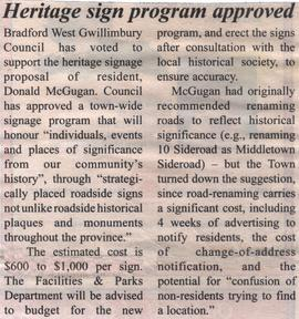 Heritage sign program approved