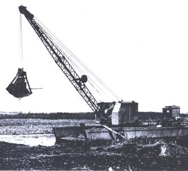 Barge with dragline