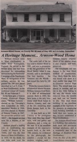 A Heritage Moment... Armson-Wood Home